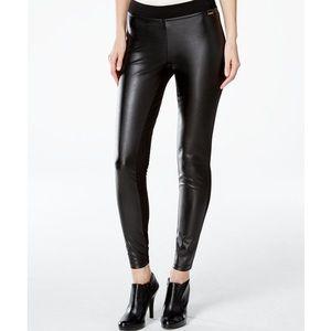 NEW CALVIN KLEIN Black Faux-Leather-Front Leggings